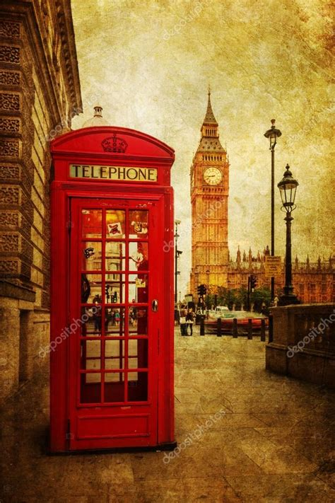 imagenes vintage big ben vintage style picture of a typical red phone box in london