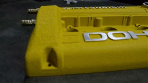 custom 4g63 rocker cover paint with yellow wrinkle