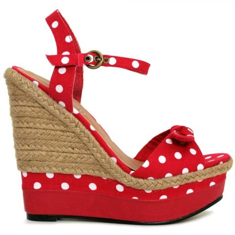 buy raffia wedge polka dot platform bow shoes sandals