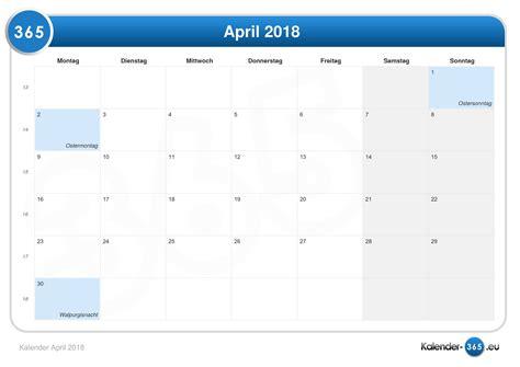 Ostern 2018 Kalender Kalender April 2018