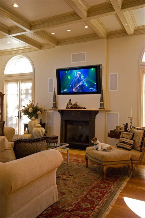 houzz tv room is a tv above fireplace high to comfortably