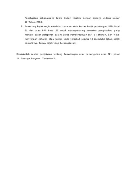 Pajak Penghasilan Pemotongan Pemungutan artikel pph 21 pemotongan dan pemungutan