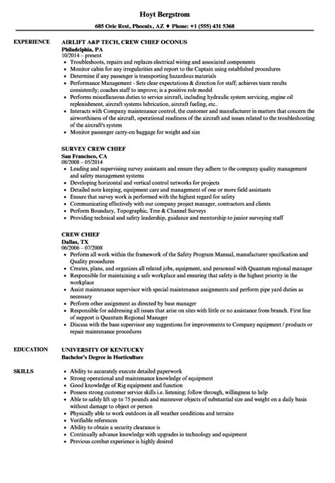 Crew Resume by Luxury Crew Chief Resume Gallery Universal For