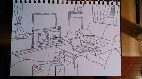 sketch draw perspektivisches zeichnen - Wohnzimmer Zeichnen