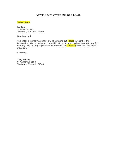 Move Out Letter To Landlord Sle by Letter To Landlord Moving Out Articleezinedirectory