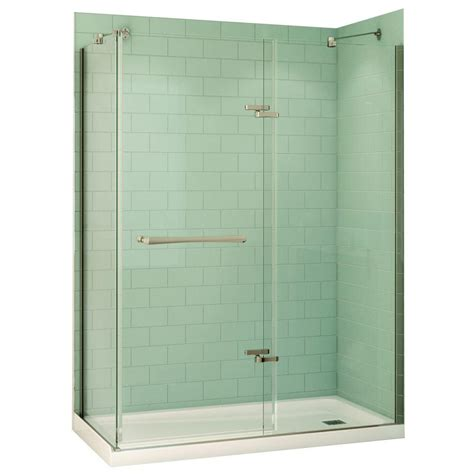 maax reveal 32 in x 60 in x 74 5 in corner shower stall