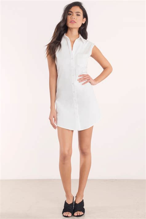 Hq11986 Color Buttoned Shirt Dress white day dress sleeveless dress white dress 56 00