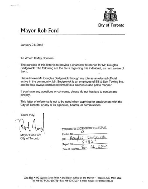 Reference Letter For Employee Driver Ford Wrote Letter To Help Reinstate Stunt Driving Tow Truck Driver Toronto