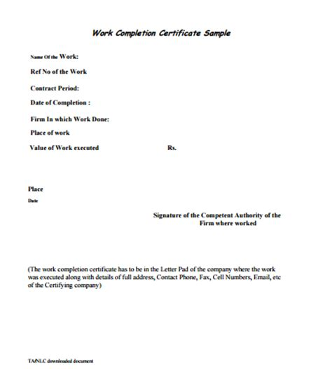 Completion Of Employment Contract Letter 6 Work Completion Certificate Formats In Word Website