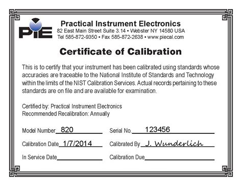 pie 820 calibration certificate sle piecal