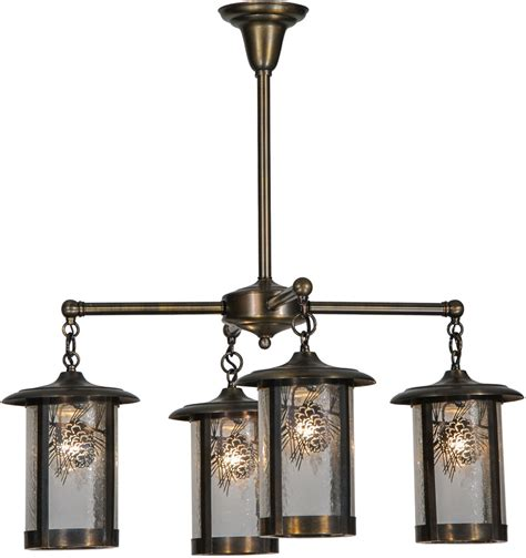 Wrought Iron And Crystal Chandeliers Meyda Tiffany 81057 Fulton Winter Pine Rustic Antique