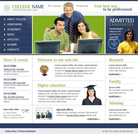 university website templates university website template 11564