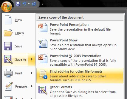 video file format supported by powerpoint 2007 getting office 2007 s save as pdf add in in powerpoint