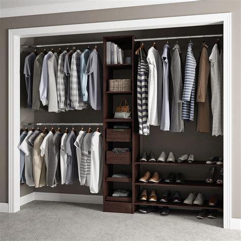 closetmaid impressions 25 in walnut standard closet kit