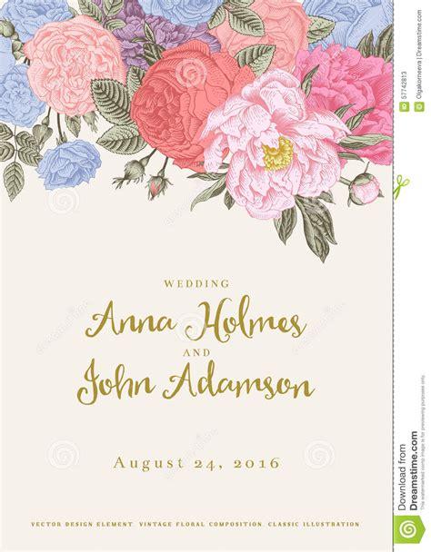 vintage flowers wedding invitations vector vector vintage floral wedding invitation stock vector