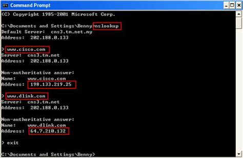 nslookup  check domain  information