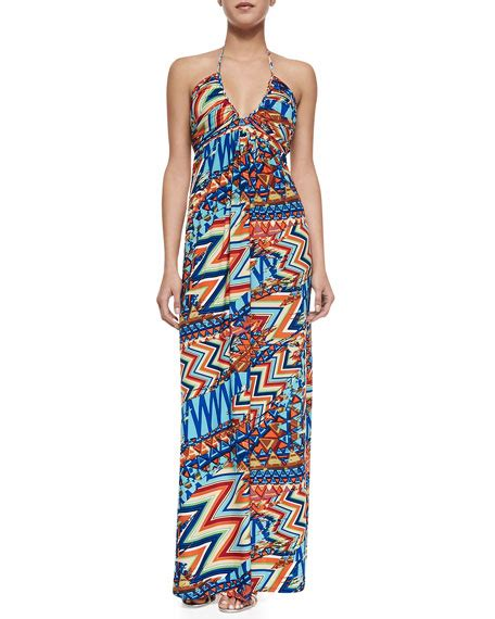 Halter Printed Maxi Dress t bags printed halter maxi dress