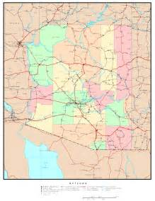 arizona county map with roads az map roads