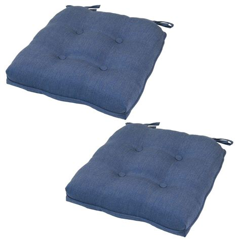 The Luxe Chairpad Blue hton bay sky blue deluxe tufted outdoor seat cushion 2 pack 7358 02407400 the home depot