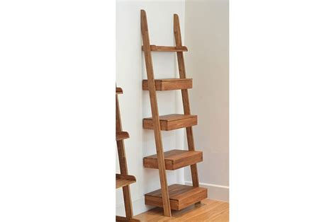 ladder bookcase oak oak leaning shelves with drawer futon company