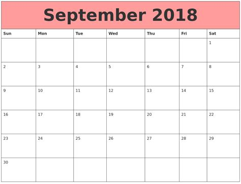 Calendar Template 2018 Microsoft Word