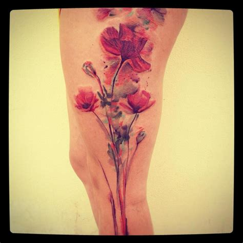 flower tattoo on thigh on watercolor tattoos abstract watercolor and