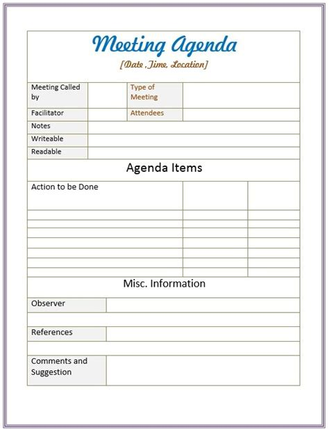 10 free sle informal agenda templates for your casual