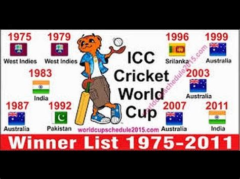 list of world cup icc cricket world cup chions list