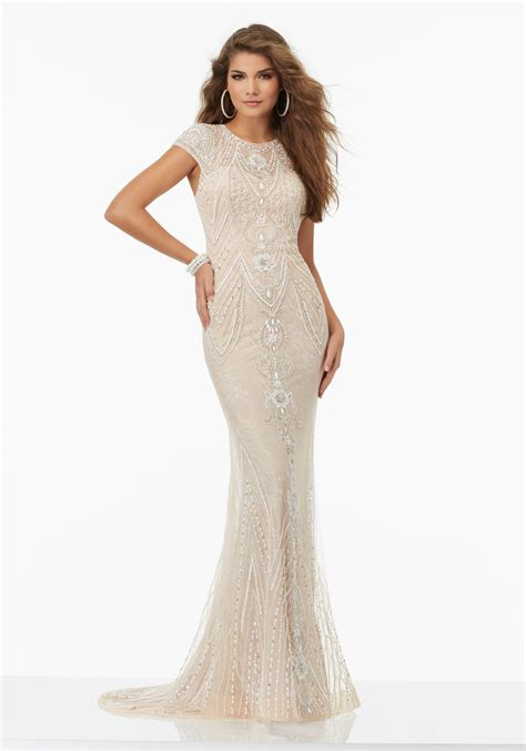 beaded evening gowns beaded prom dress chantilly lace style 99113 morilee