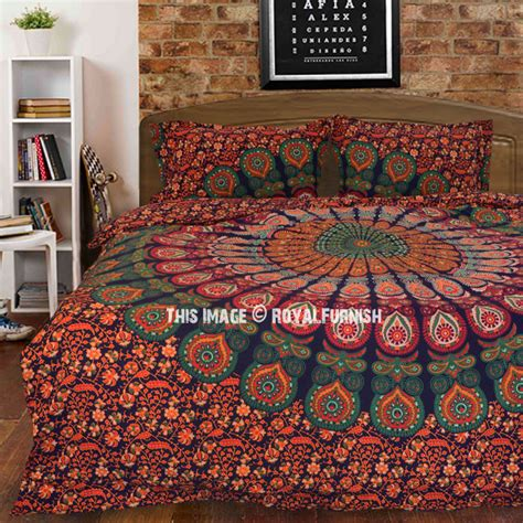 trippy bedding multi trippy peacock boho bedspread mandala duvet cover
