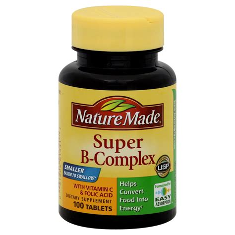 Vitamin Wellness Nature Made B Complex Tablets 100 Tablets Health