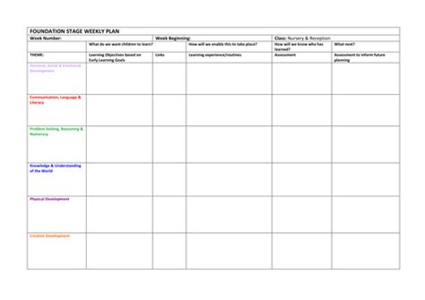 template foundation stage weekly plan by vanadesse