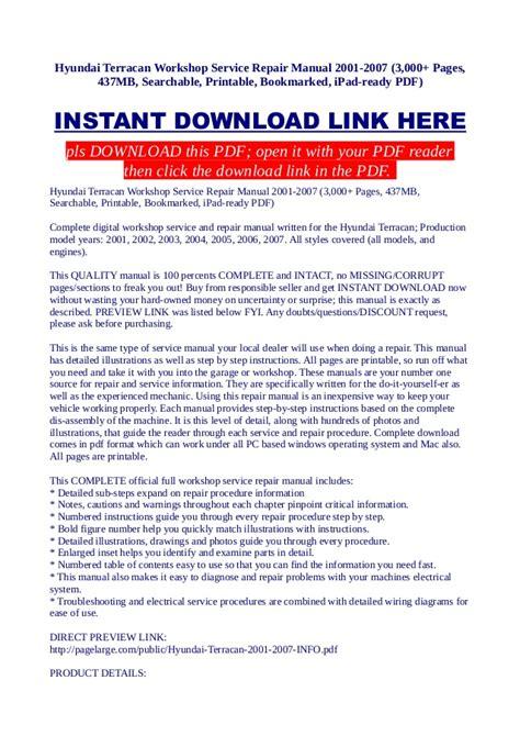 hyundai terracan workshop service repair manual 2001 2007 3 000 pag