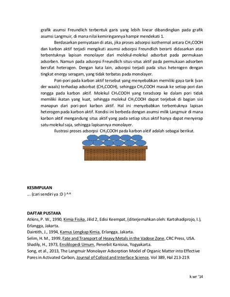 slope dan intersep laporan kimia fisik proses adsorpsi isoterm larutan