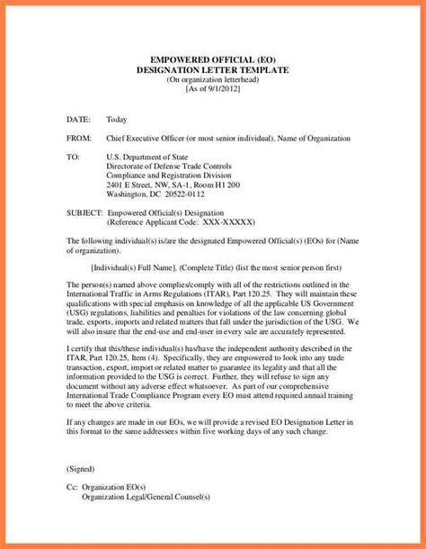 appointment letter jurisdiction 8 department of defense letterhead template company