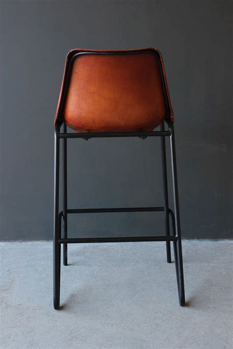 Leather Bar Stool Chairs by Industrial Leather Bar Stool Brown