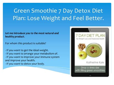 Green Detox Diet Plan by 7 Day Diet Plans With Smoothie Review