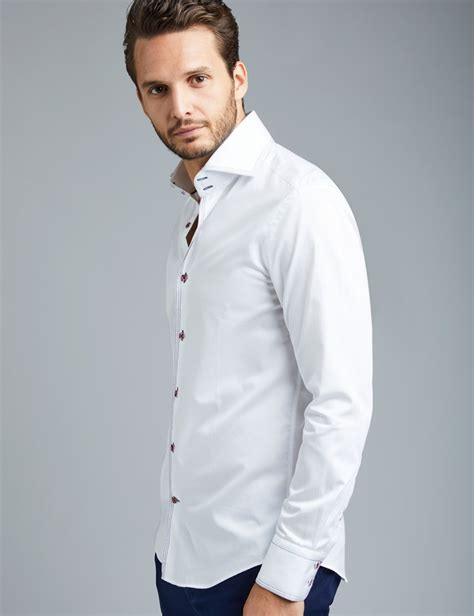 Blouse Jumbo Menmen s curtis white slim fit smart casual shirt with navy contrast detail high collar single