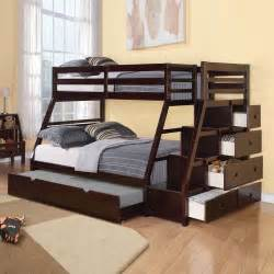 Full Size Bunk Bed With Trundle Jason Twin Over Full Bunk Bed Storage Ladder Trundle