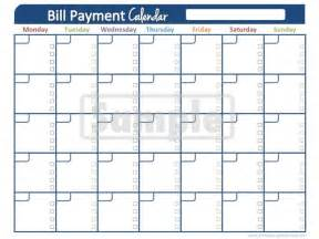 bill pay calendar template bill pay calendar printable calendar template 2016