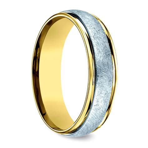 two toned swirl s wedding ring in white yellow gold