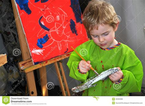 painting 4 year olds painting boy stock photo image 49360086