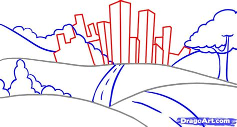 city background drawing how to draw a landscape step by step other landmarks