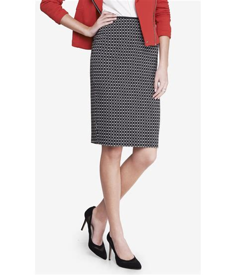 Print Midi Pencil Skirt express square jacquard print midi pencil skirt in black
