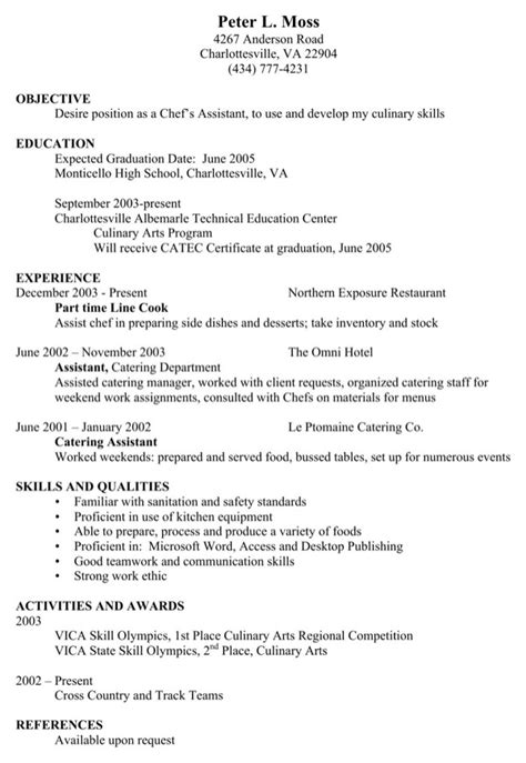 Chef Assistant Sle Resume by Chef Assistant Resume For Free Formtemplate