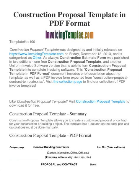 design and build contractors proposals construction business proposal templates 10 free word