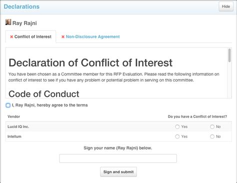 conflict of interest disclosure form template declaration module conflict of interest coi and non