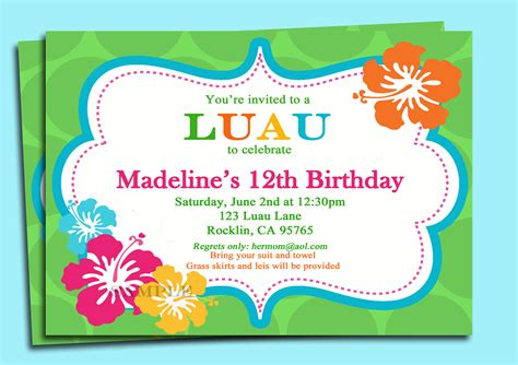 Printable Birthday Invitations Luau | luau invitation printable personalized for your by