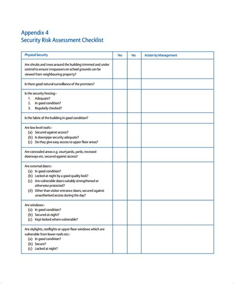 survey checklist template sle risk assessment checklist template 9 free