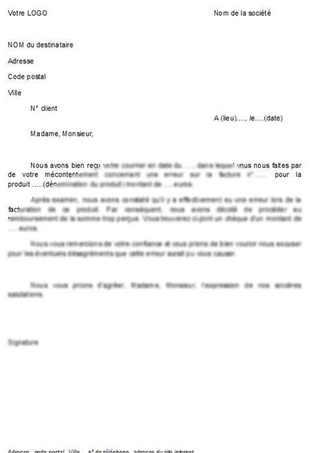 modele facture lettre document